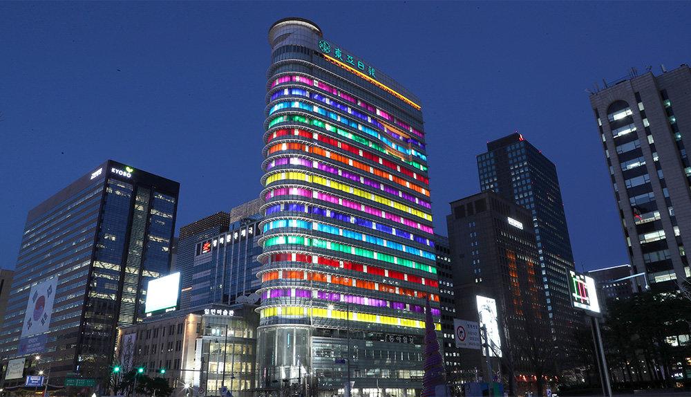 다니엘 뷔렌, <한국의 색>, 2019~2020, 동아미디어센터, 서울