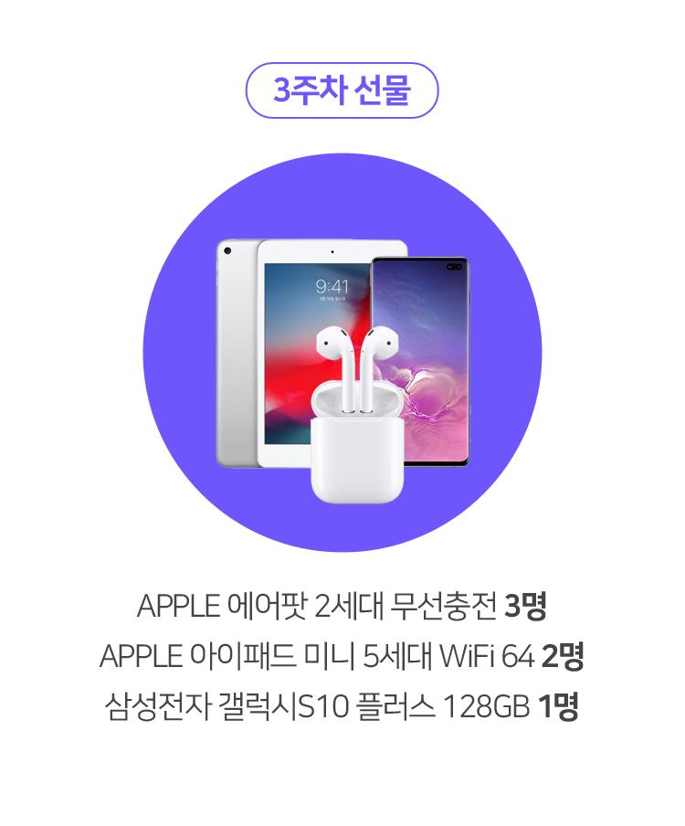 3주차 선물 APPLE 에어팟 2세대 무선충전 3명 APPLE 아이패드 미니 5세대 WiFi 64 2명 삼성전자 갤럭시S10 플러스 128GB 1명