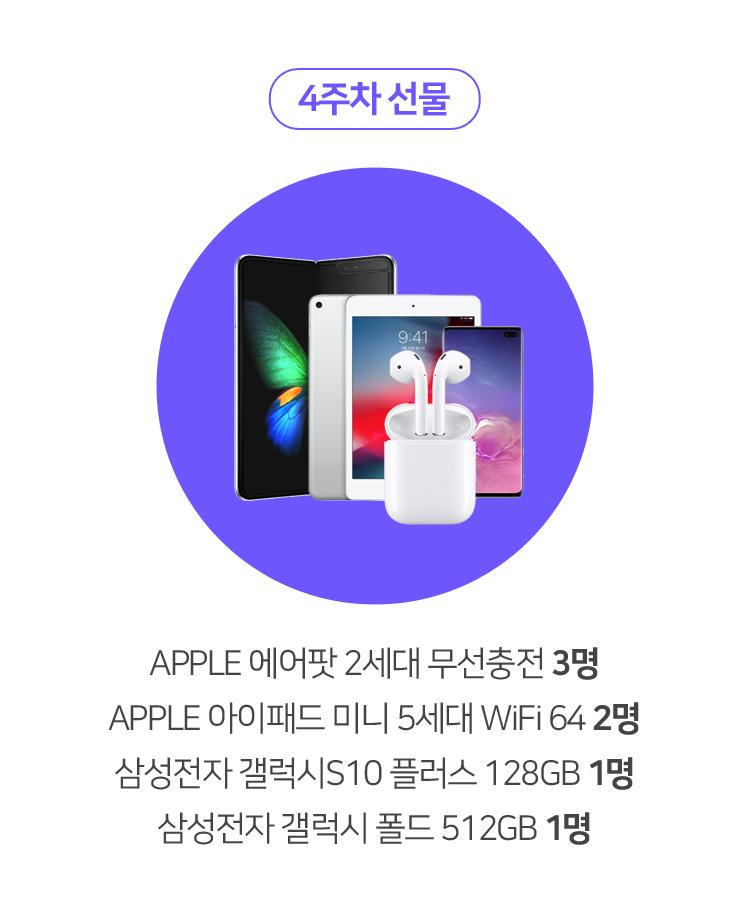 4주차 선물 APPLE 에어팟 2세대 무선충전 3명 APPLE 아이패드 미니 5세대 WiFi 64 2명 삼성전자 갤럭시S10 플러스 128GB 1명 삼성전자 갤럭시 폴드 512GB 1명